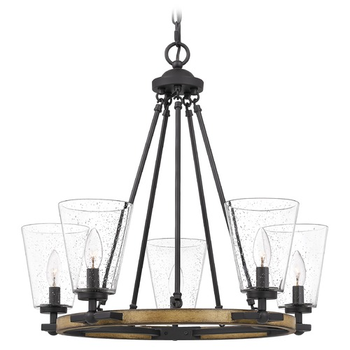 Quoizel Lighting Quoizel Lighting Hearst Matte Black with Painted Aged Walnut Wood Chandelier HST5025MBK