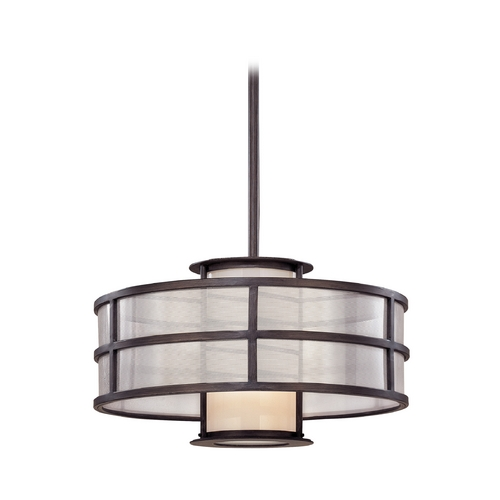 Troy Lighting Pendant Light with White Glass in Graphite Finish F2735