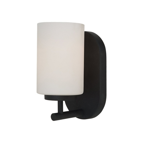 Sea Gull Lighting Modern Sconce Wall Light with White Glass in Blacksmith Finish 41160-839