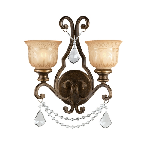 Crystorama Lighting Crystal Sconce Wall Light in Bronze Umber Finish 7502-BU-CL-MWP