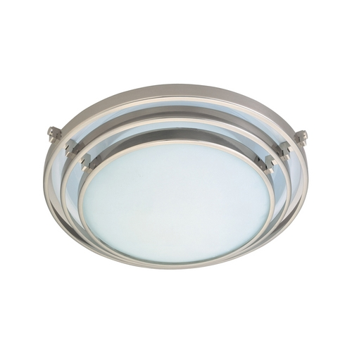 PLC Lighting Modern Flushmount Light with White Glass in Satin Nickel Finish 1616 SN