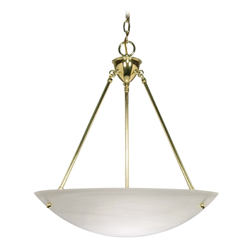 Nuvo Lighting Pendant Light with Alabaster Glass in Polished Brass Finish 60/372