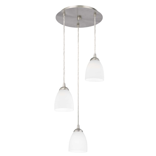 Design Classics Lighting Modern Multi-Light Pendant Light with White Glass and 3-Lights 583-09 GL1028MB