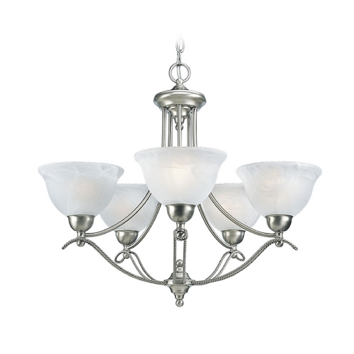 Progress Lighting Progress Chandelier with Alabaster Glass in Brushed Nickel Finish P4068-09