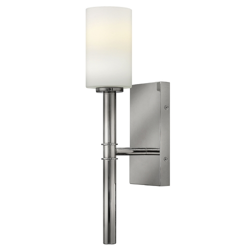 Hinkley Lighting Sconce Wall Light with White Glass in Polished Nickel Finish 3580PN