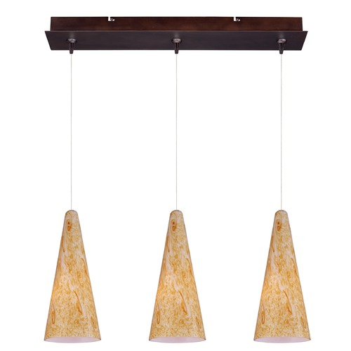 ET2 Lighting Minx Bronze Multi-Light Pendant with Conical Shade E94830-103BZ