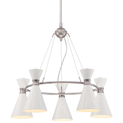 George Kovacs Lighting Mid-Century Modern Chandelier Brushed Nickel White Shade by George Kovacs P1825-44F