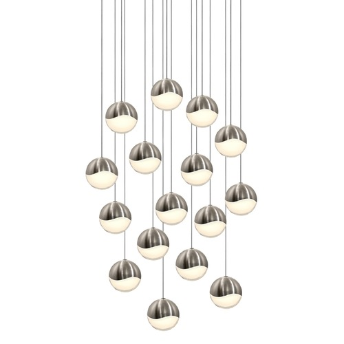 Sonneman Lighting Sonneman Grapes Satin Nickel 16 Light LED Multi-Light Pendant 2923.13-LRG