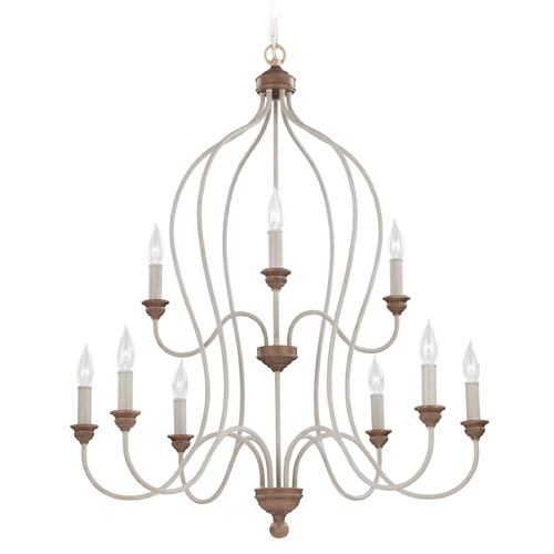 Feiss Lighting Feiss Hartsville 2-Tier 9-Light Chandelier in Chalk Washed / Beachwood F2999/9CHKW/BW