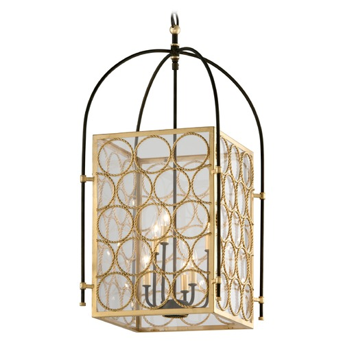 Troy Lighting Troy Lighting Bottega Gold Leaf & Textured Bronze Pendant Light with Square Shade F5284