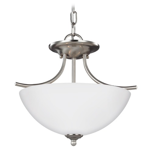 Sea Gull Lighting Sea Gull Lighting Bannock Brushed Nickel Pendant Light with Bowl / Dome Shade 7716602-962