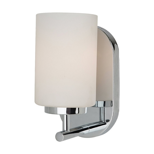 Sea Gull Lighting Modern Sconce Wall Light with White Glass in Chrome Finish 41160BLE-05