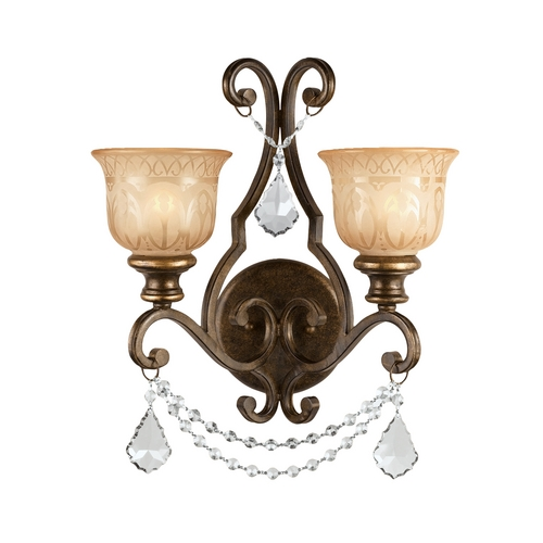 Crystorama Lighting Crystal Sconce Wall Light in Bronze Umber Finish 7502-BU-CL-S