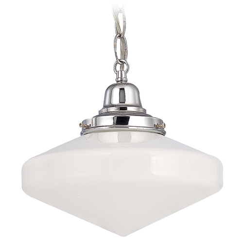 Design Classics Lighting 10-Inch Schoolhouse Mini-Pendant Light with Chain in Chrome Finish FB4-26 / GE10 / B-26