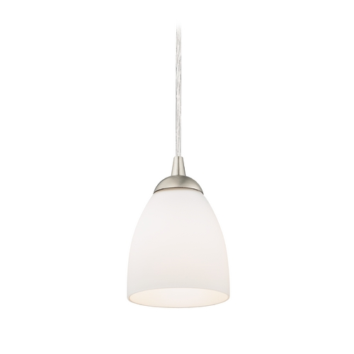 Design Classics Lighting Mini-Pendant Light with White Bell Glass in Satin Nickel Finish 582-09 GL1028MB