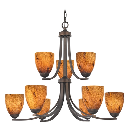 Design Classics Lighting Modern Chandelier with Brown Art Glass in Neuvelle Bronze Finish 586-220 GL1001MB