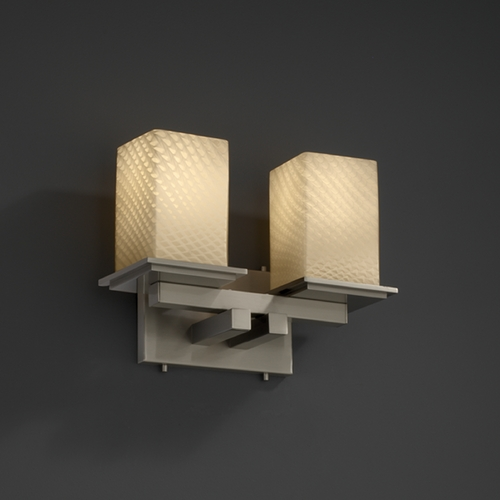 Justice Design Group Justice Design Group Fusion Collection Bathroom Light FSN-8672-15-WEVE-NCKL