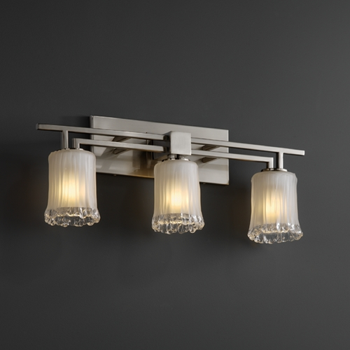 Justice Design Group Justice Design Group Veneto Luce Collection Brushed Nickel Bathroom Light GLA-8703-16-WTFR-NCKL