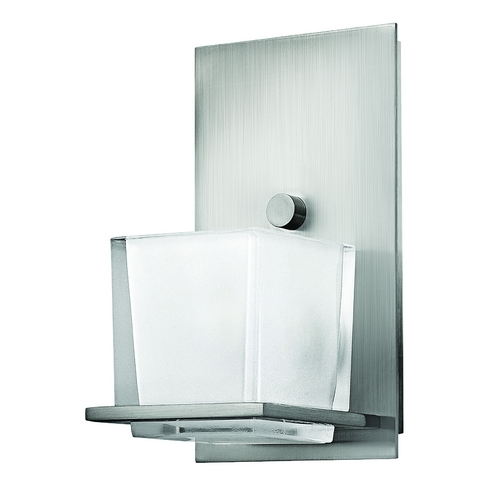 Hinkley Lighting Sconce with White Glass in Brushed Nickel Finish 5770BN