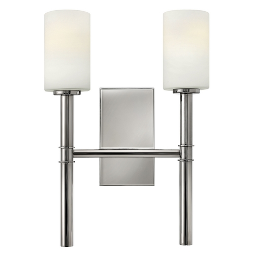 Hinkley Lighting Sconce Wall Light with White Glass in Polished Nickel Finish 3582PN