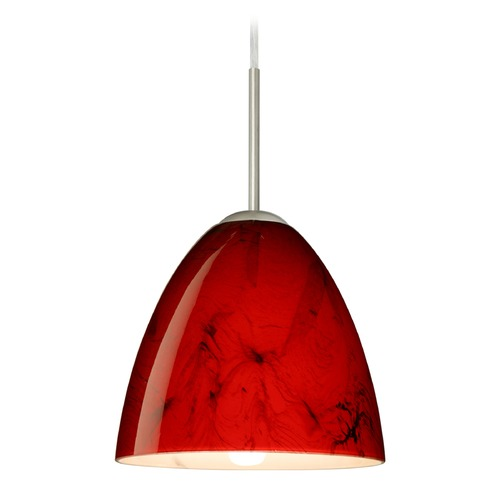 Besa Lighting Besa Lighting Vila Satin Nickel LED Mini-Pendant Light with Bell Shade 1JT-4470MA-LED-SN