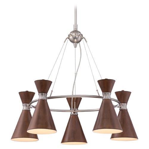 George Kovacs Lighting Mid-Century Modern Chandelier Brushed Nickel Brown Shade by George Kovacs P1825-651