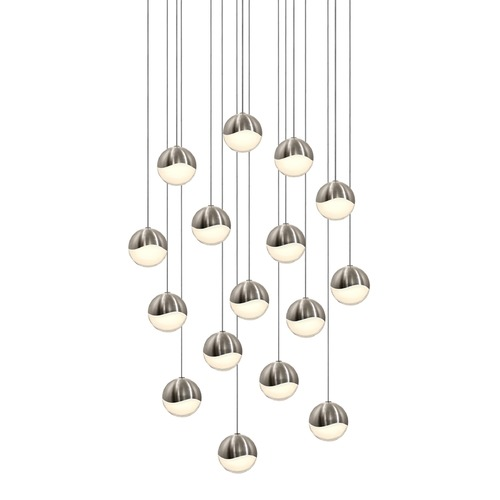 Sonneman Lighting Sonneman Grapes Satin Nickel 16 Light LED Multi-Light Pendant 2923.13-MED