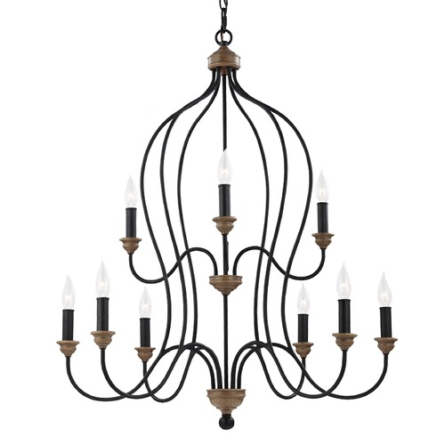 Feiss Lighting Feiss Lighting Hartsville Dark Weathered Zinc / Weathered Oak Chandelier F2999/9DWZ/WO