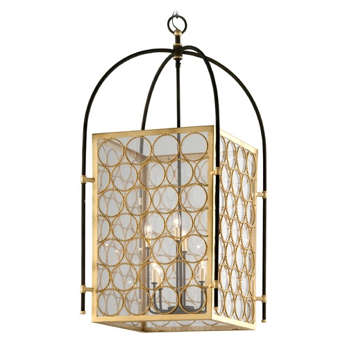 Troy Lighting Troy Lighting Bottega Gold Leaf & Textured Bronze Pendant Light with Square Shade F5288