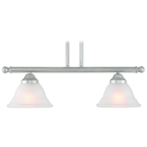 Livex Lighting Livex Lighting Wynnewood Hand Applied Brushed Silver Island Light with Bell Shade 40722-34