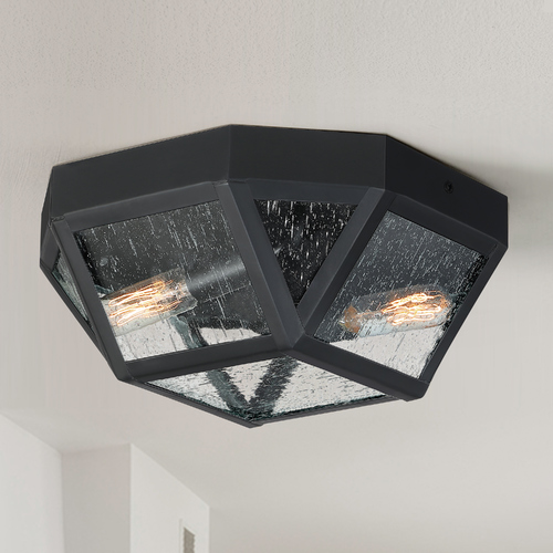 Quoizel Lighting Quoizel Montrose Mystic Black 2-Light Flushmount Light with Clear Seeded Octagon Shade QF4060K