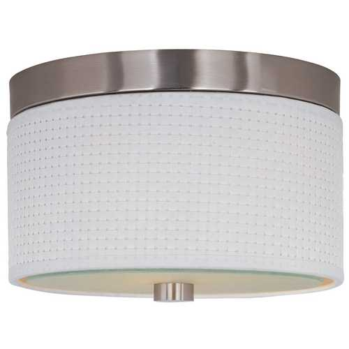 ET2 Lighting Modern Flushmount Light with White Shades in Satin Nickel Finish E95000-100SN