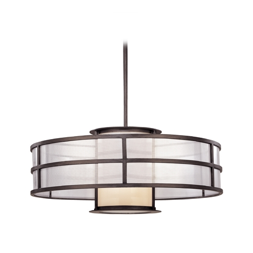 Troy Lighting Pendant Light with White Glass in Graphite Finish F2737