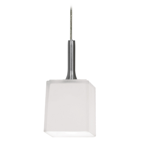 Access Lighting Modern Low Voltage Mini-Pendant Light with White Glass 96918-BS/OPL