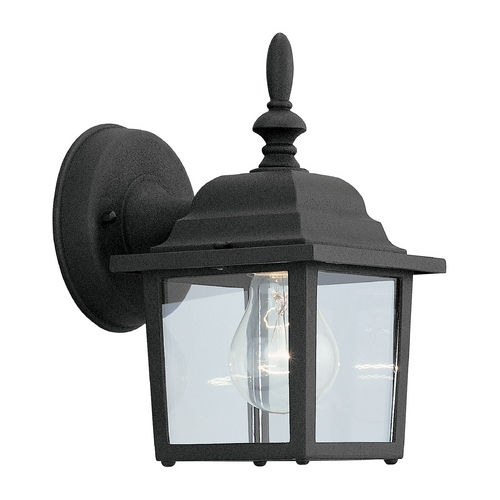 Designers Fountain Lighting Outdoor Wall Light with Clear Glass in Black Finish 2861-BK
