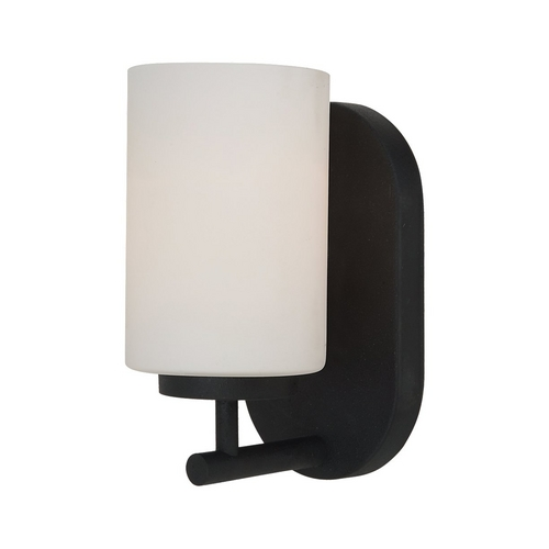 Sea Gull Lighting Modern Sconce Wall Light with White Glass in Blacksmith Finish 41160BLE-839