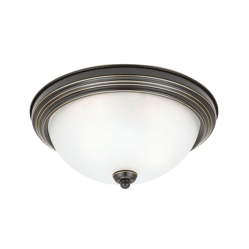 Sea Gull Lighting Flushmount Light with White Glass in Heirloom Bronze Finish 77063-782