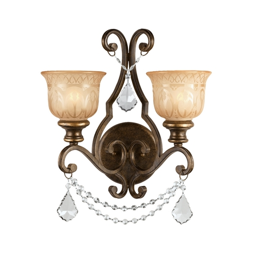 Crystorama Lighting Crystal Sconce Wall Light in Bronze Umber Finish 7502-BU-CL-SAQ