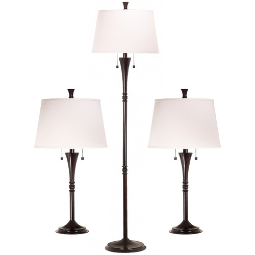 Kenroy Home Lighting Table and Floor Lamp Set with White Shades in Oil Rubbed Bronze Finish 30843ORB