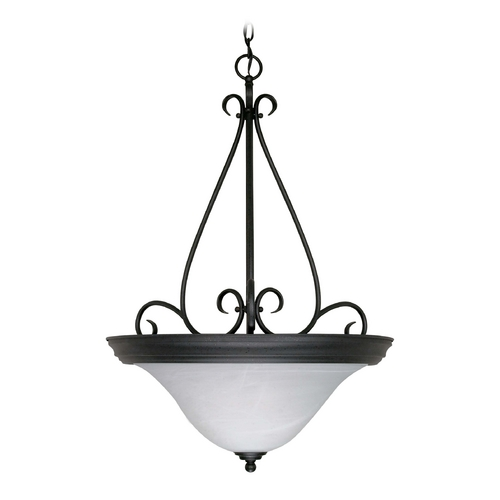 Nuvo Lighting Pendant Light with Alabaster Glass in Textured Black Finish 60/385