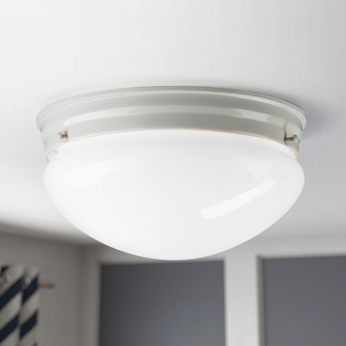 Design Classics Lighting 8-Inch White Flushmount Ceiling Light 29624