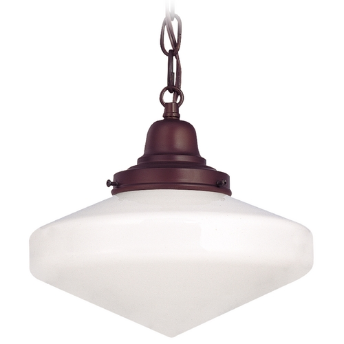 Design Classics Lighting 10-Inch Bronze Schoolhouse Mini-Pendant Light with Chain FB4-220 / GE10 / B-220
