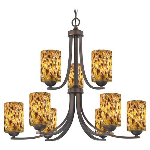 Design Classics Lighting Design Classics Dalton Fuse Neuvelle Bronze Chandelier 586-220 GL1005C
