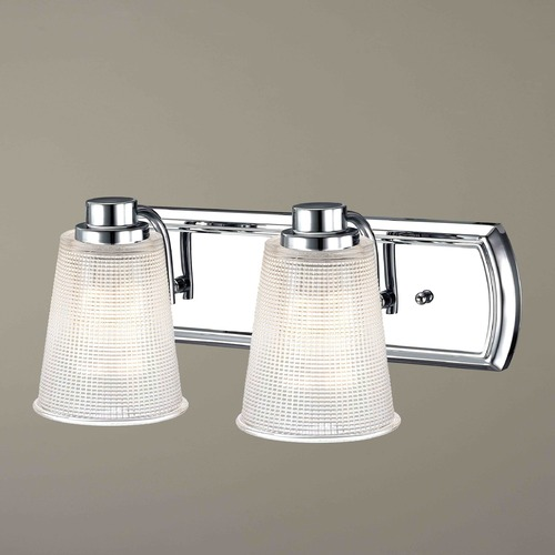 Design Classics Lighting 2-Light Bathroom Light with Clear Prismatic Glass in Chrome Finish 1202-26 GL1056-FC