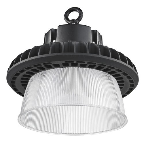 Recesso Lighting by Dolan Designs Prismatic Glass UFO LED High Bay Light Black 150-Watt 20270 Lumens 4000K 120 Degree Beam Spread HB01-150W-40-BK/W SHADE