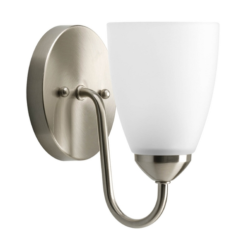Progress Lighting Progress Sconce Wall Light with White Glass in Brushed Nickel Finish P2706-09