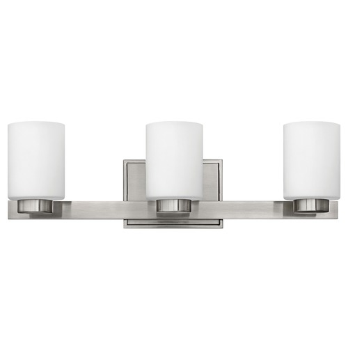 Hinkley Lighting Bathroom Light with White Glass in Brushed Nickel Finish 5053BN