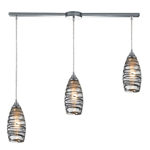 Elk Lighting Modern Multi-Light Pendant Light with Clear Glass and 3-Lights 31338/3L-VINW