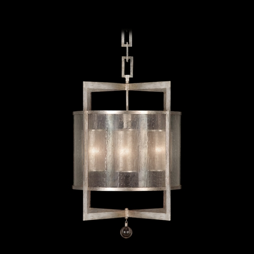 Fine Art Lamps Fine Art Lamps Singapore Moderne Silver Leaf Pendant Light with Cylindrical Shade 591140-2ST