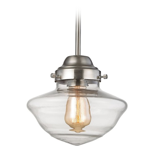 Elk Lighting Elk Lighting Schoolhouse Pendants Satin Nickel Mini-Pendant Light 69142-1